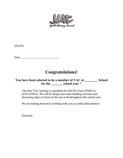Acceptance Letter Donation Yac Acceptance Letter In Word And Pdf Formats