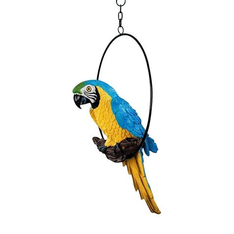 parrot statue tropical bird hanging sculpture patio garden