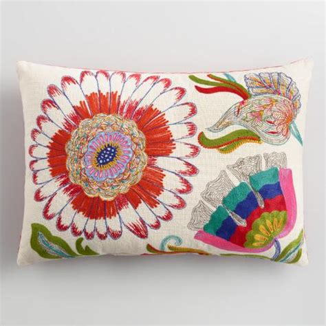 World Market Pillows Sale by Floral Embroidered Indoor Outdoor Lumbar Pillow World Market