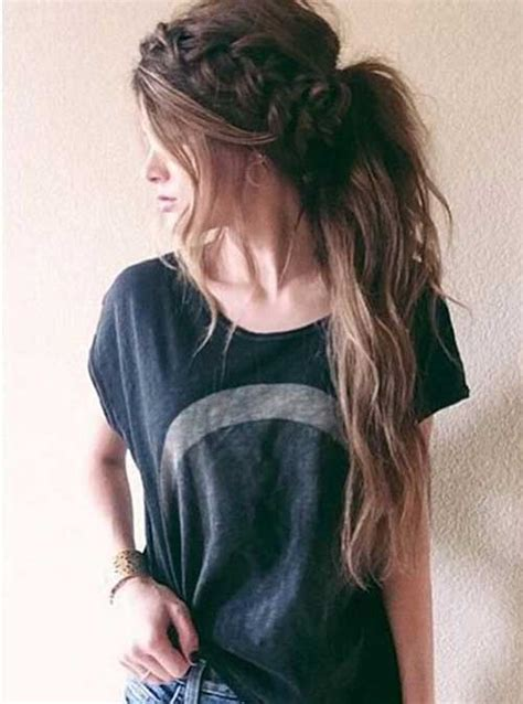 easy hairstyles in a ponytail 20 easy styles for long hair long hairstyles 2016 2017