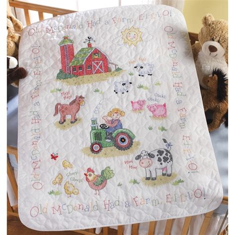 Cross Stitch Baby Quilt Patterns by On The Farm Baby Quilt Kit Bucilla Sted Cross Stitch Kits At Weekend Kits