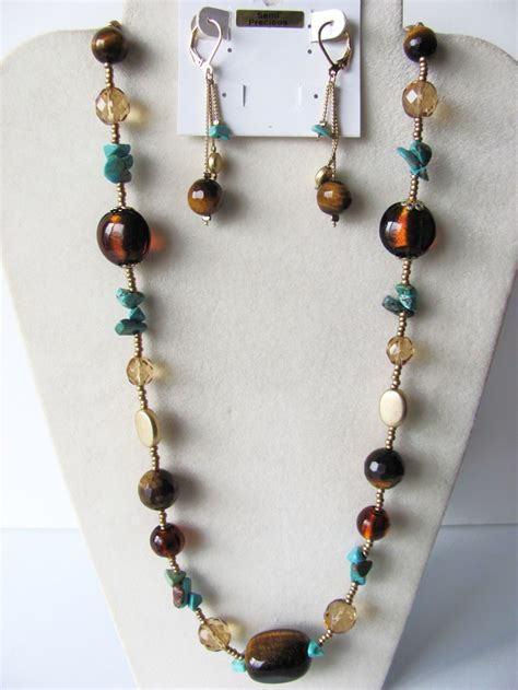semi precious stones jewelry tiger eye turquoise semi precious stones necklace earrings