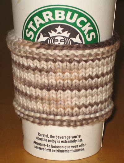 coffee sleeve knitting pattern in a glass creations organic cotton coffee sleeve