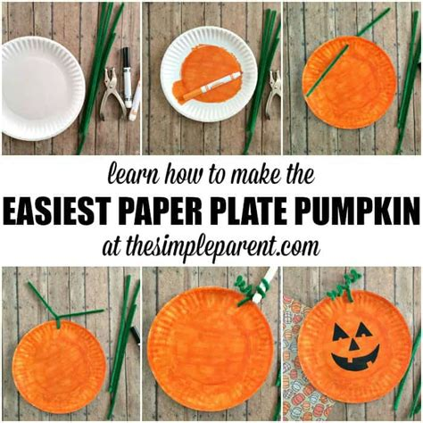how to make craft with paper plates easiest paper plate pumpkin craft the simple parent