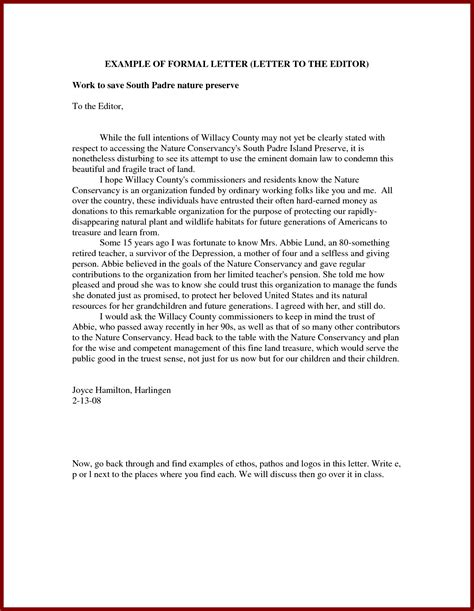 formal letter to editor formal letter template