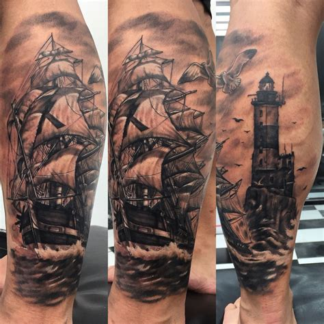pirate sleeve tattoo designs ship and light house tattoos pirate ship