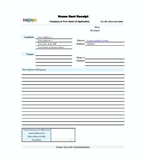 house rent receipts templates rent invoice template