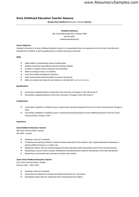 resume for early childhood assistant early childhood assistant sle resume fabulous exle of preschool resume free
