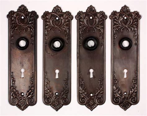 Antique Door Knob Sets by Two Antique P F Corbin Lorraine Door Knob Sets With Back Plates C 1905 One Set