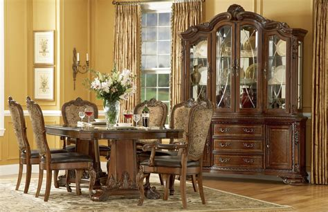 old world double pedestal dining room set from art