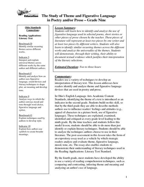 identifying themes literature review 16 best images of identifying categories worksheets