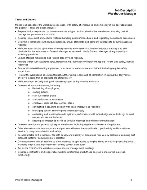 Warehouse Sle Resume Description Description For Warehouse Manager Tasks And Duties