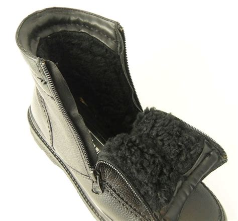 fur lined boots mens mens roamers leather warm fleece fur lined zip