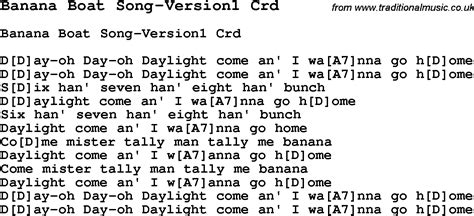 banana boat song ukulele pdf skiffle lyrics for banana boat song version1 with chords
