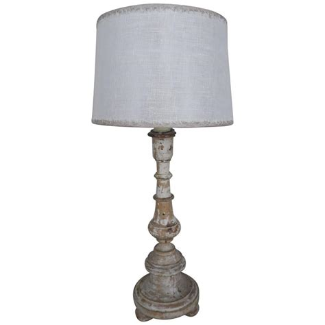italian painted candlestick l with custom linen shade