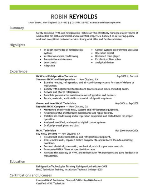 resume exles for experienced professionals hvac cover best hvac and refrigeration resume exle livecareer