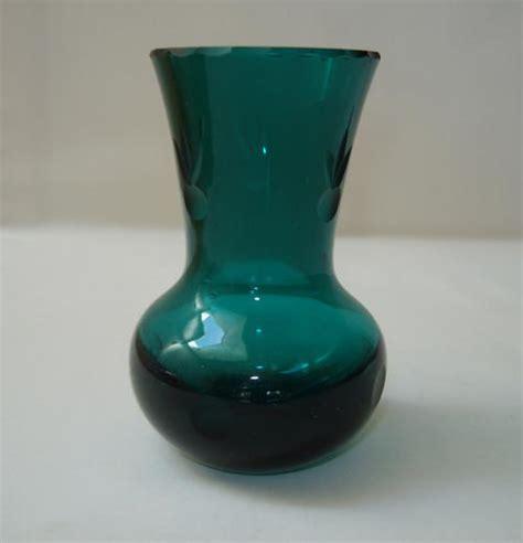 Teal Green Vase Vases Vintage Teal Green Cut Glass Bud Vase Chipped