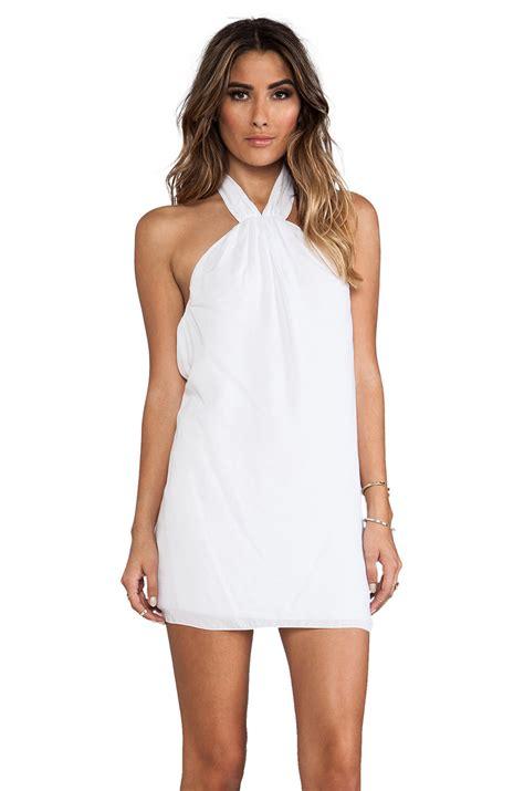 White Neck Dress indah cosmo high neck halter babydoll dress in white lyst