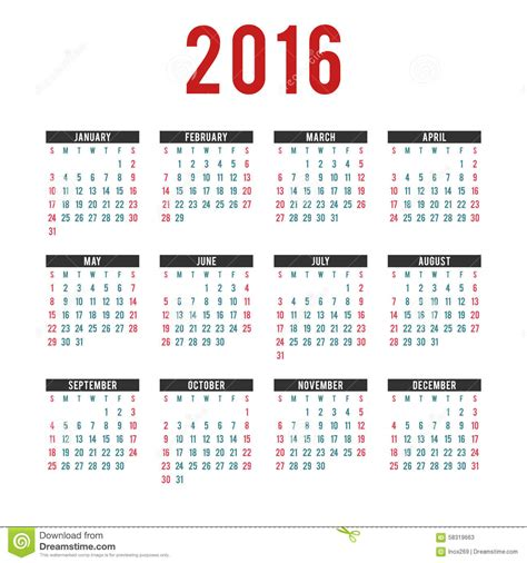 vector 2016 calendar templates stock vector image 58319663