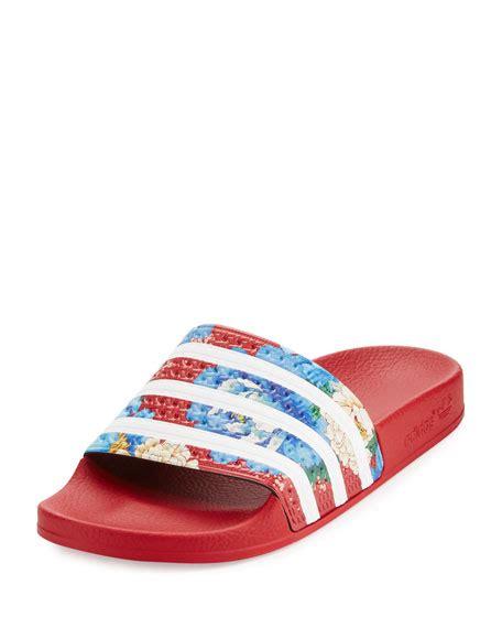 Sandal 2stripe Colors adidas x the farm adilette floral striped slide sandal