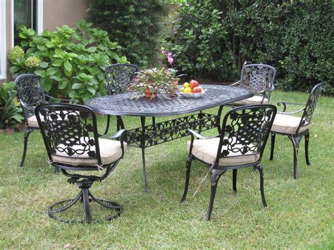 cast aluminum outdoor patio furnitures 7 piece dining set
