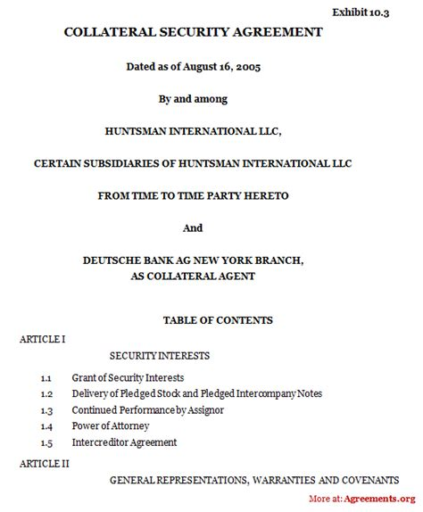 collateral agreement template security agreement 5 ppsa security agreements harris