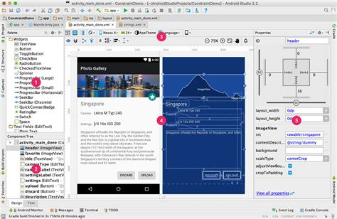 android studio edit layout xml layout editor로 ui 빌드 android studio