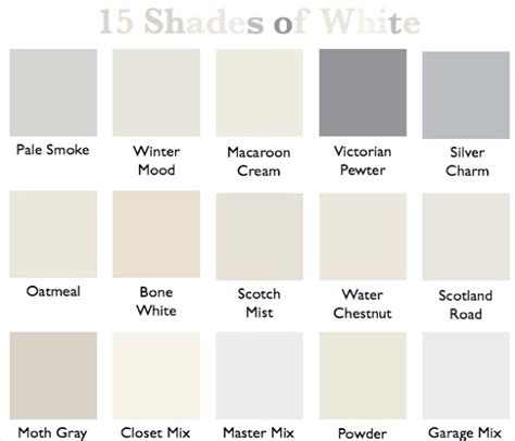 Shades Of White Paint | 15 shades of white country design style