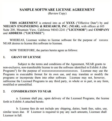 6 Free Software License Agreement Templates Excel Pdf Formats Free Software License Agreement Template