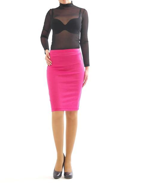 pencil skirt midi skirt knee length midi stretch