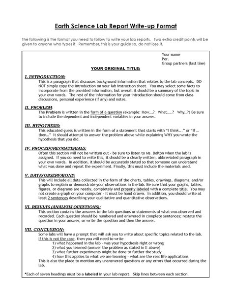 Experiment Conclusion Outline by Miss Durant S Science Class Lab Report Template For Conclusion