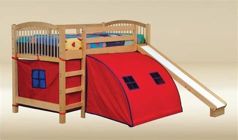bunk bed with slide and tent twin loft bed with pop tent canvas and slide modern