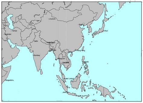 Asia Rivers Outline Map by Asia Maps History