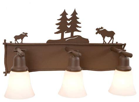 Dale Tiffany Vases Glacier Vanity Moose 3 Light Rustic Bathroom