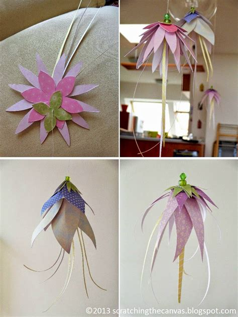 How To Make Hanging Paper Flowers - scratching the canvas hanging paper flowers or jelly fish