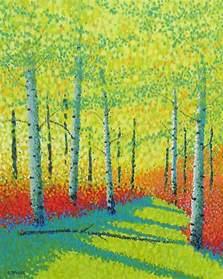 Landscape Artist Definition Jim Pescott S Pointillism Birch Forest Trees
