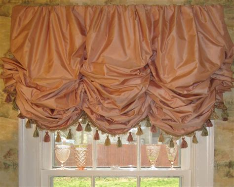 how to make a balloon shade curtain coral silk gathered balloon shade with fringe lined and