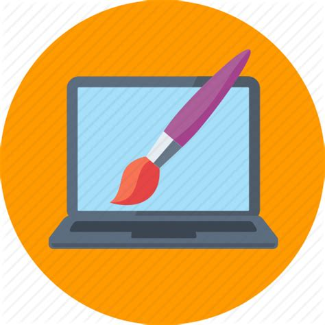 design icon graphic design laptop paintbrush web design icon icon