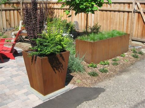 Corten Planter Box by Corten Vase And Planter Box Garden Eclectic Landscape