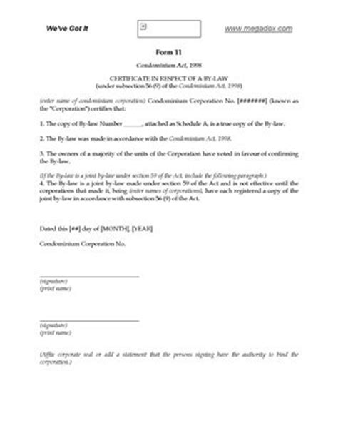 Letter Of Intent To Purchase Condominium Ontario Condominium Forms Forms And Business Templates Megadox