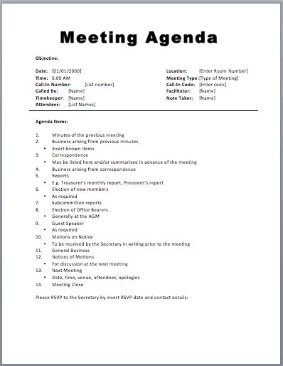 Basic Meeting Agenda Template Printable Meeting Agenda Templates Agenda Template Free