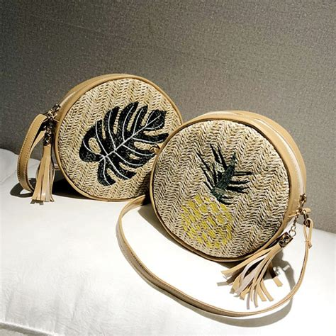 women embroidery  straw bags summer handbags rattan