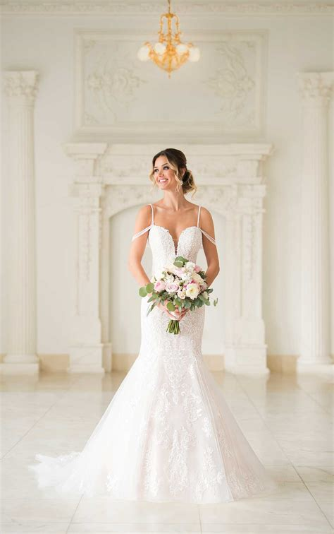 mermaid wedding dress  beaded straps stella york