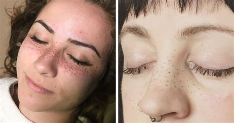 tattooed freckles before and after tattooing freckles on your face is the new beauty craze