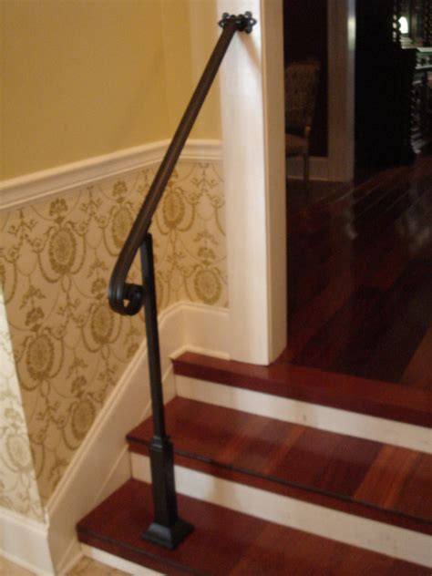 2 Step Handrail 3 ft wrought iron handrail stair step railing with wall post