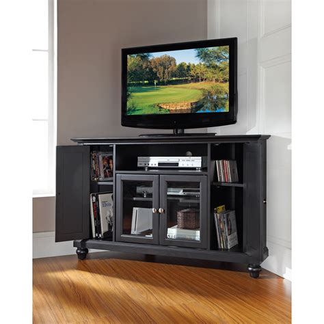 inch tv stand black corner inspirations and small for cambridge 48 inch corner tv stand in black finish crosley