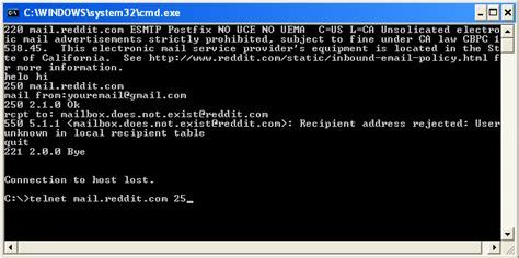 telnet check how to check if an email address exists without sending an