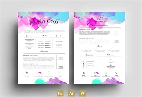 Colorful Resume Templates Free by Water Color Resume Template Psd Resume Templates On