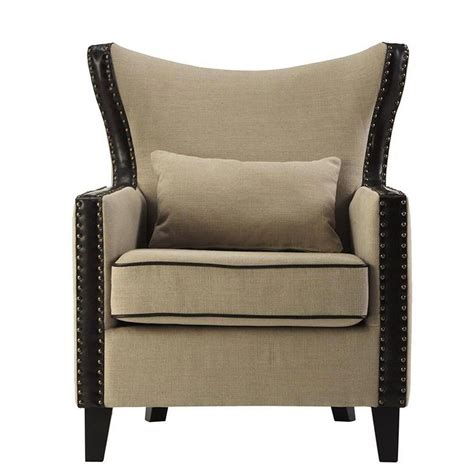 home decorators collection meloni dark beige linen bonded leather arm chair