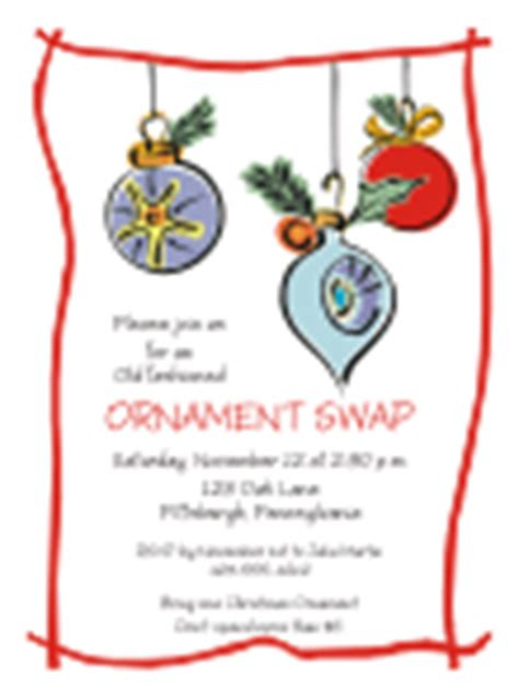 sle wording for ornament exchanges out invitations
